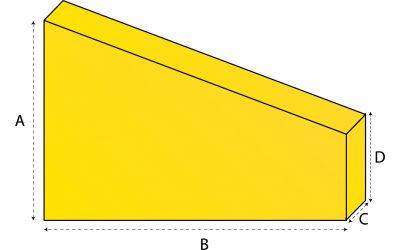 Driehoekig matras met afsneden