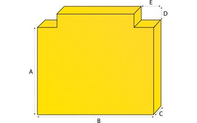 Rechthoekig matras met 2 uitsneden